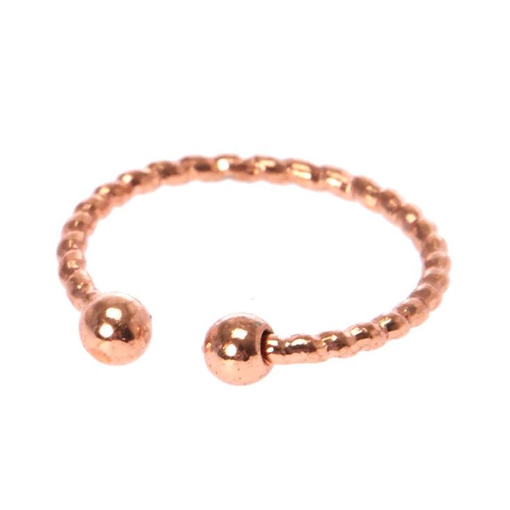 Laser Cut Rose Gold Faux Lip Ring,