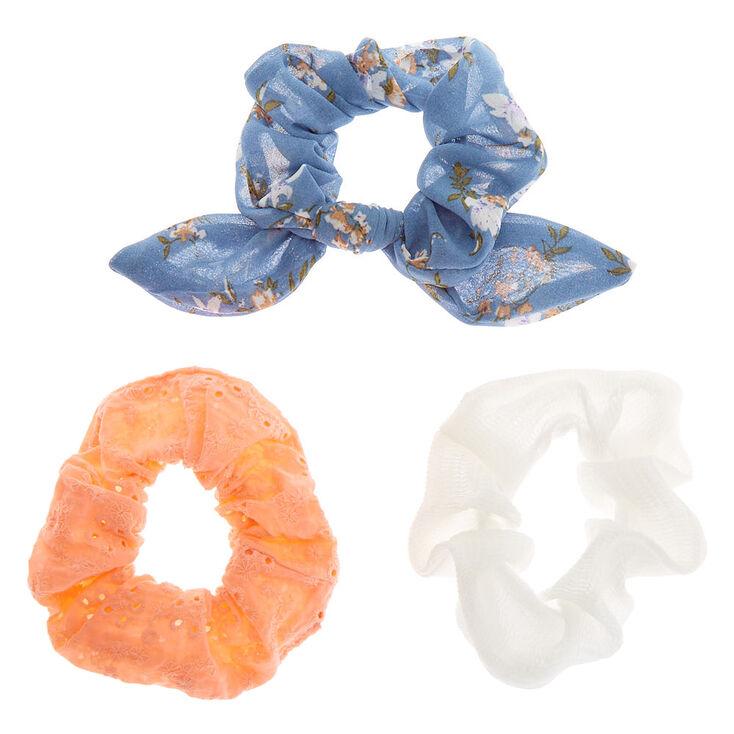 Floral Eyelet Hair Scrunchies - Blue, 3 Pack,
