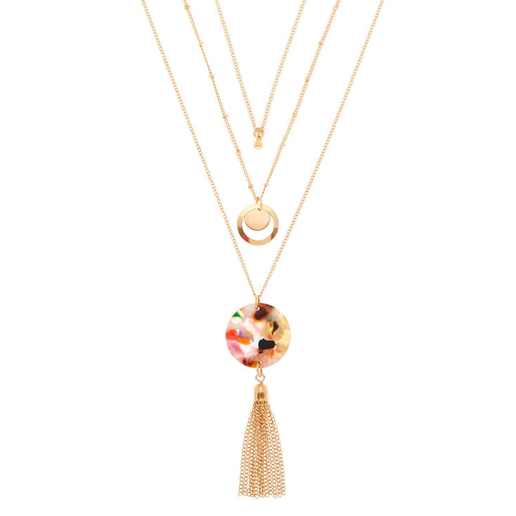 Gold Resin Painted Tassel Multi Strand Necklace,