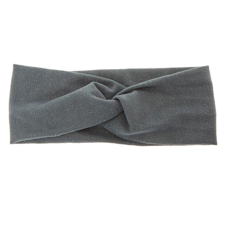 Wide Jersey Lurex Grey Headwrap,