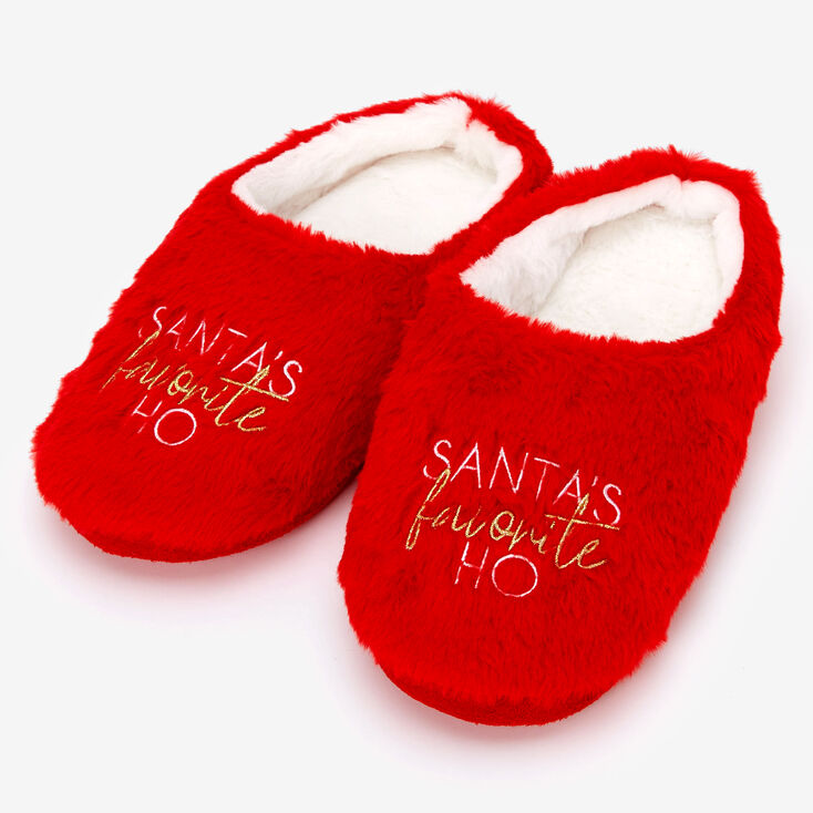 Santa's Favorite Ho Slippers - Red,