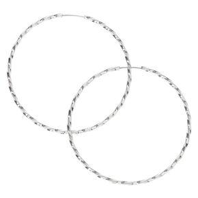 Silver 40MM Twist Hoop Earrings,