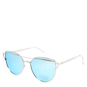 Silver Mirrored Cat Eye Sunglasses,