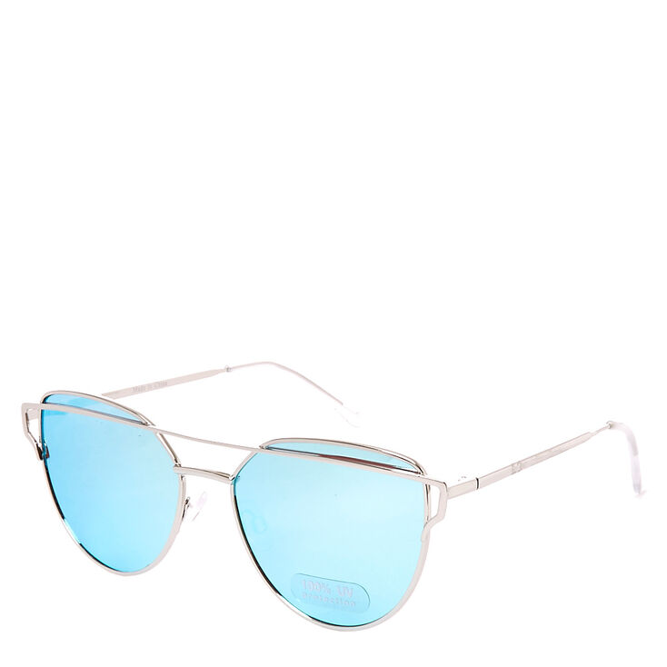 Silver Mirrored Cat Eye Sunglasses,