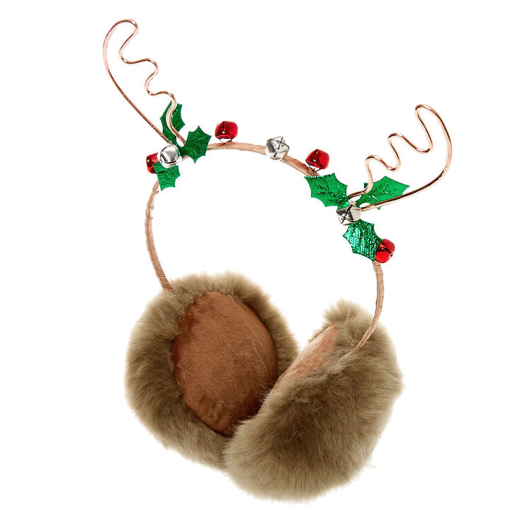 Rose Gold Reindeer Antler Fuzzy Ear Muffs - Brown,