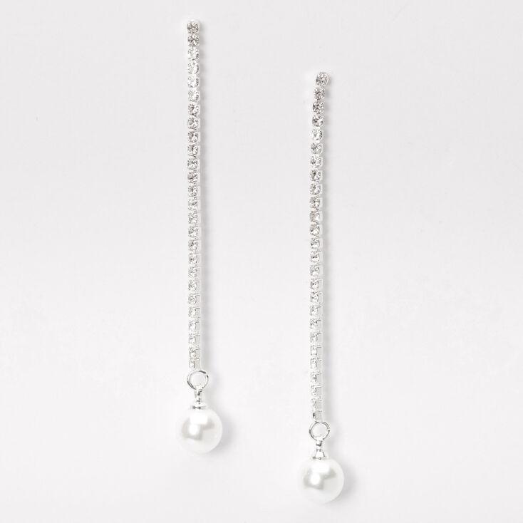"""Silver 2.5"""" Rhinestone Single Pearl Linear Drop Earrings,"""