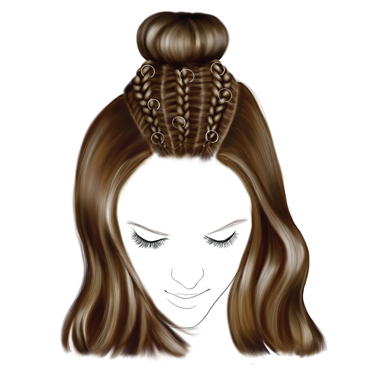 Star Ring Braided Top Knot Hair Tools Kit,
