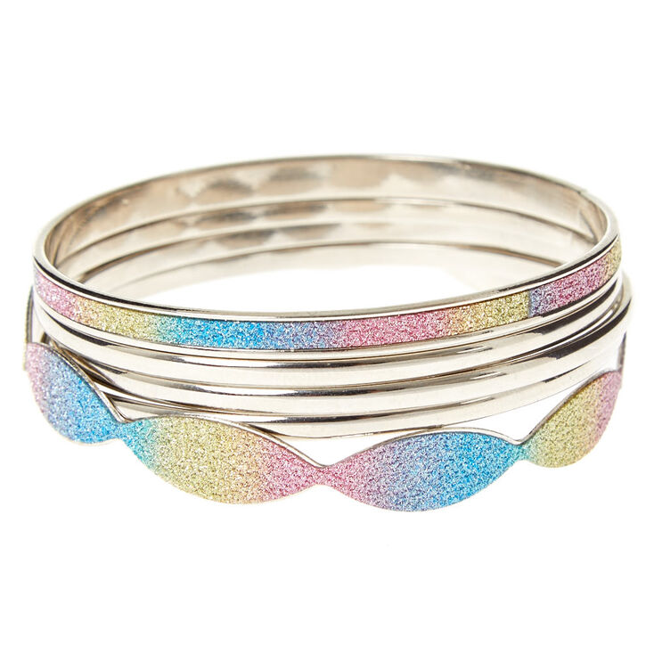 Glitter Rainbow Ombre Bangle Set,