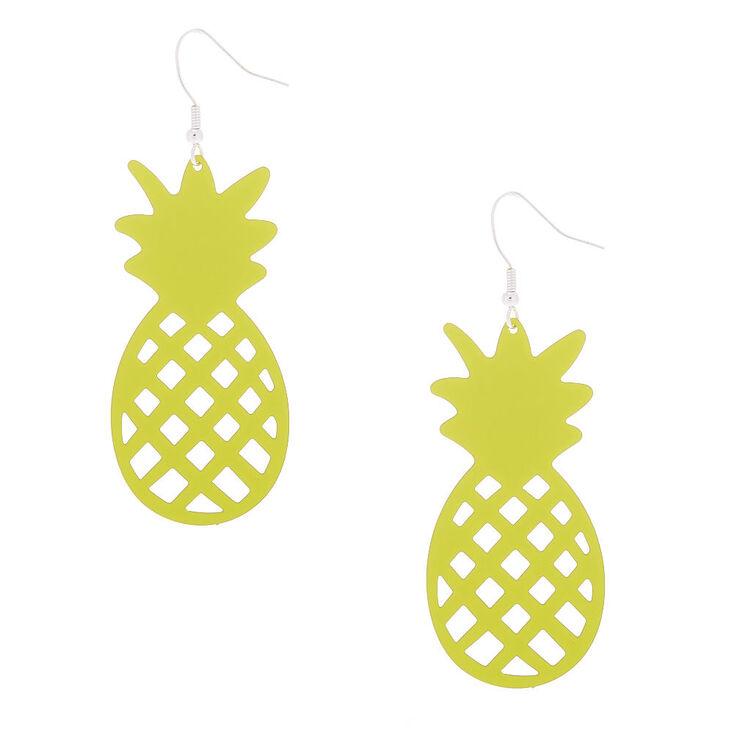 """Silver 2.5"""" Pineapple Drop Earrings - Yellow,"""