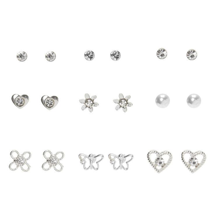 Silver Crystal Stud Earrings - 9 Pack,