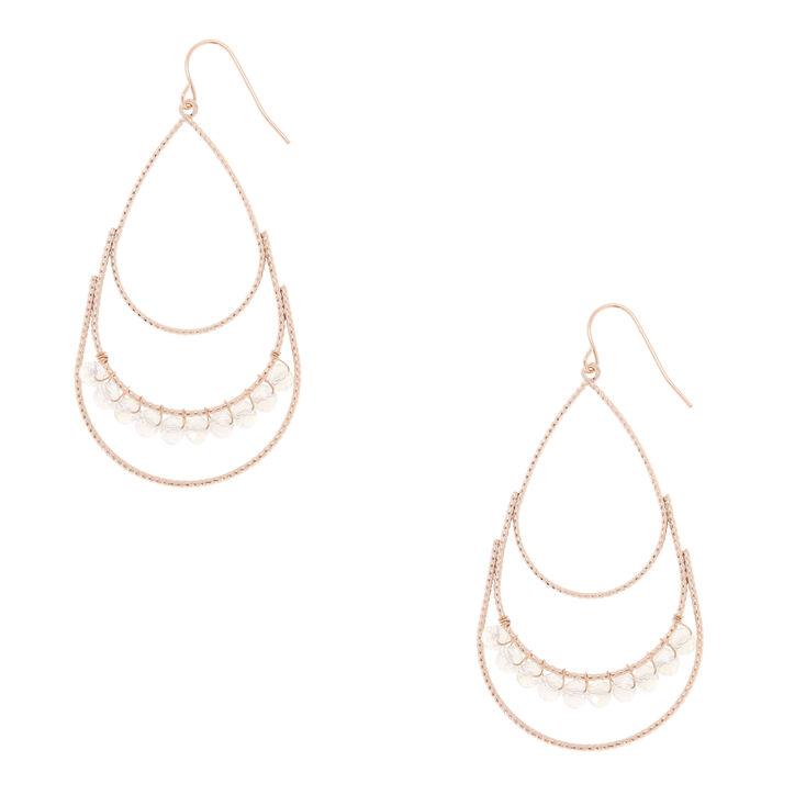 Rose Gold-Tone Teardrop Gem Dangle Earrings,