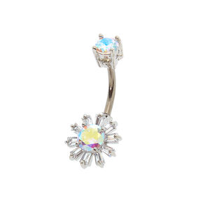 Silver 14G Iridescent Sun Belly Ring,