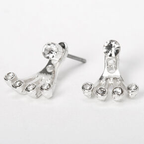 Silver Faux Crystal Claw Ear Jacket Earrings,