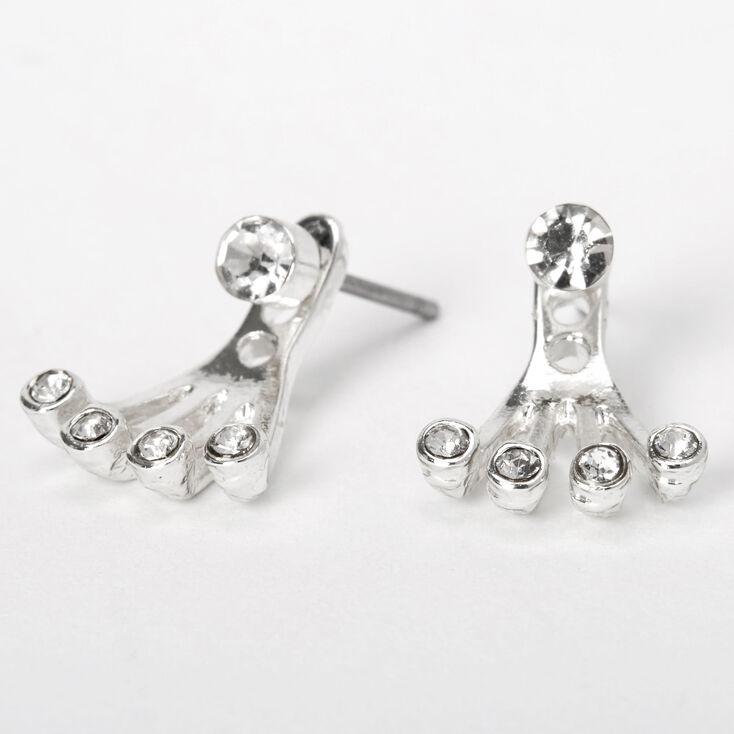 Silver Faux Crystal Claw Ear Jacket Earrings,