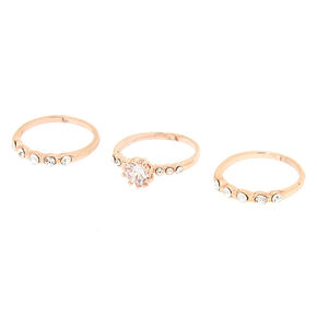 Rose Gold Cubic Zirconia Rings - 3 Pack,