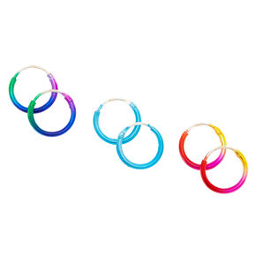 Sterling Silver 10MM Ombre Hoop Earrings - 3 Pack,
