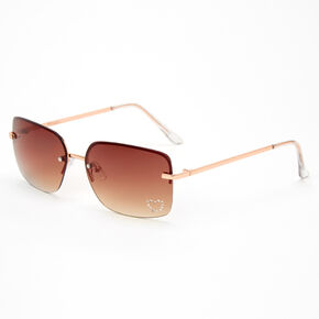 Amber Studded Heart Rectangle Sunglasses - Pink,