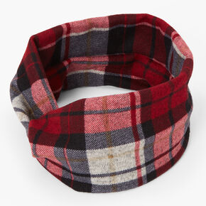 Red & Black Plaid Twisted Headwrap,