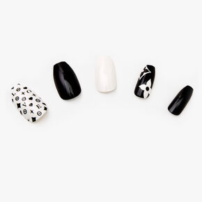 Classic Black and White Coffin Faux Nails - 24 Pack,