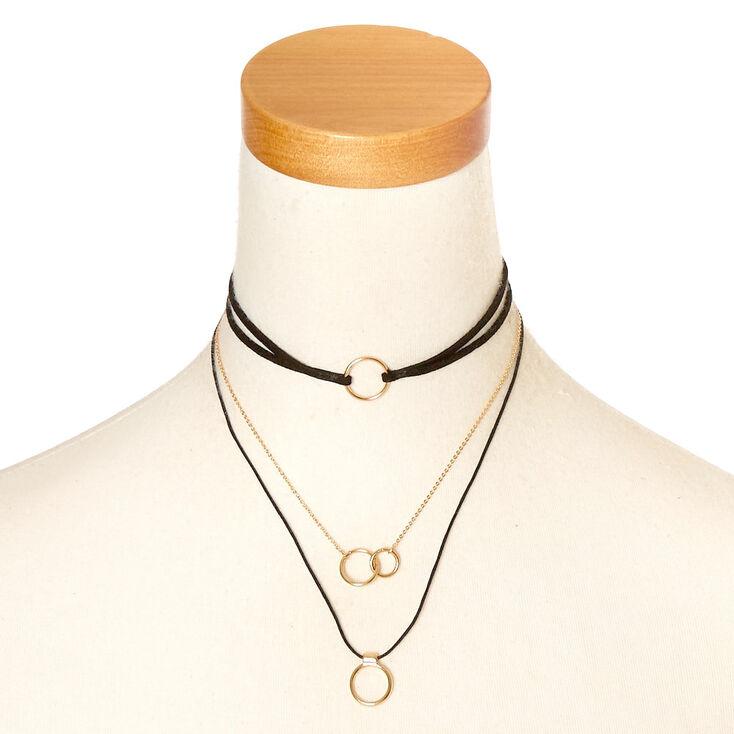 Black & Gold Multi Choker Necklace,