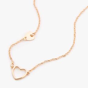 Gold Double Heart Pendant Necklace,