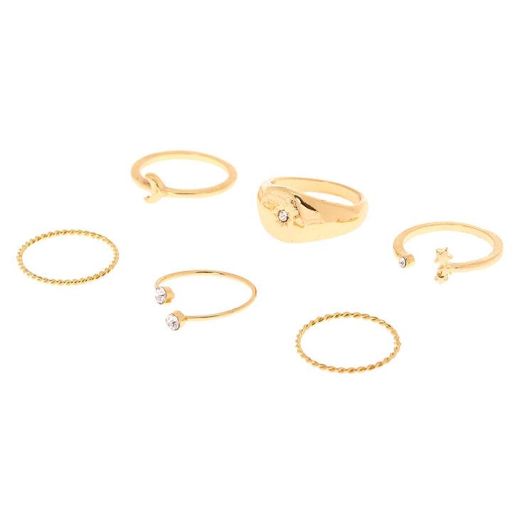 Gold Celestial Rings - 6 Pack,