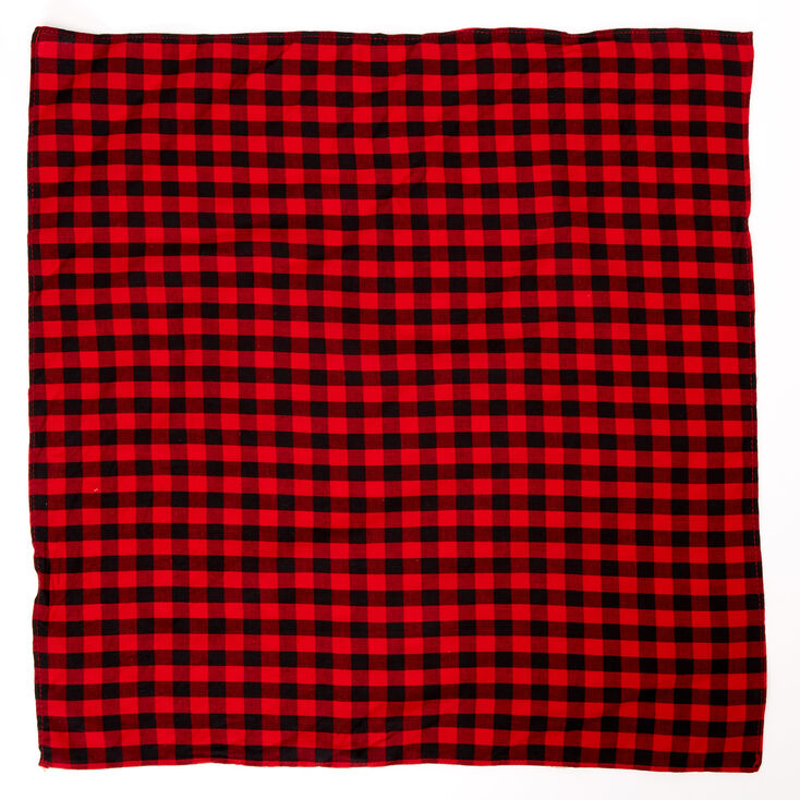 Red & Black Checkered Bandana Headwrap,
