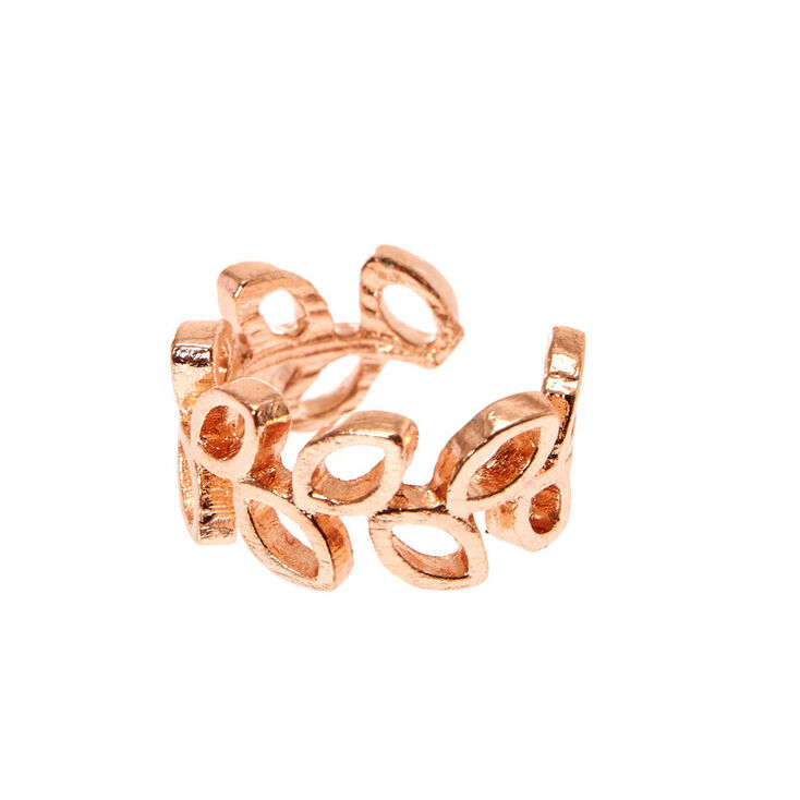 Rose Gold Tone Open Leaves Ear Cuff,