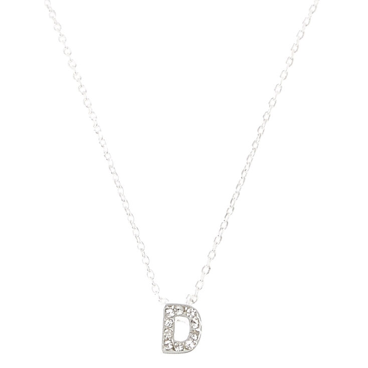 Silver Embellished Initial Pendant Necklace - D,