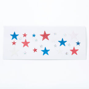 Red, White & Blue Glitter Star Body Stickers,
