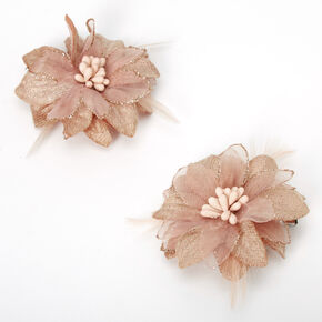 Lily Flower Hair Clips - Champagne, 2 Pack,
