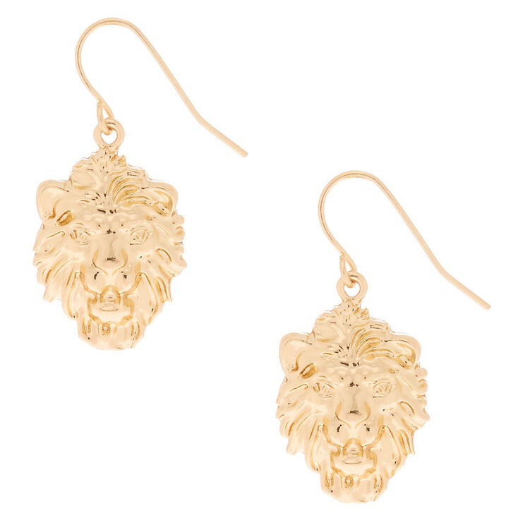 "Gold 1"" Lion Drop Earrings,"