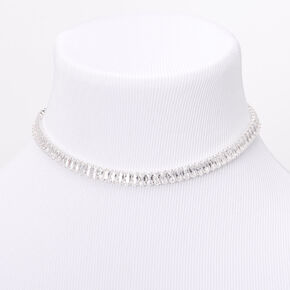 Silver Cubic Zirconia Emerald Cut Choker Necklace,
