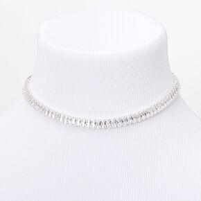 Silver Cubic Zirconia Emerald Cut Choker Necklace,
