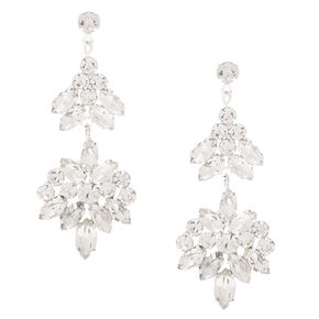 Silver Double Fan Rhinestone Drop Earrings,