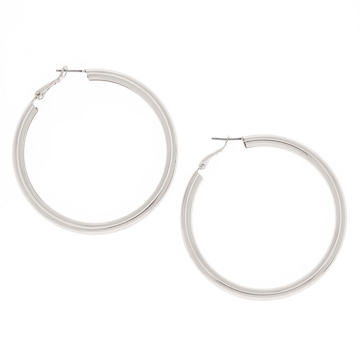 Silver 60MM Tube Hoop Earrings,