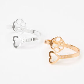 Mixed Metal Best Friends Paw Heart Rings - 2 Pack,