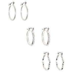 Silver 20MM Textured Hoop Earrings - 3 Pack,
