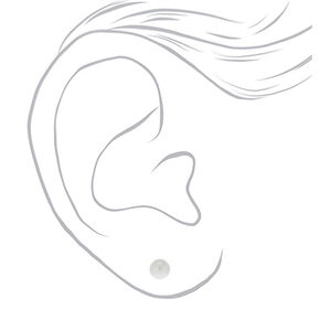 Silver 4MM Pearl Stud Earrings - White,