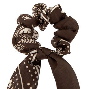 Paisley Satin Scarf Hair Scrunchie - Charcoal,