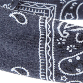 Charcoal Gray Paisley Print Knotted Jersey Headwrap,