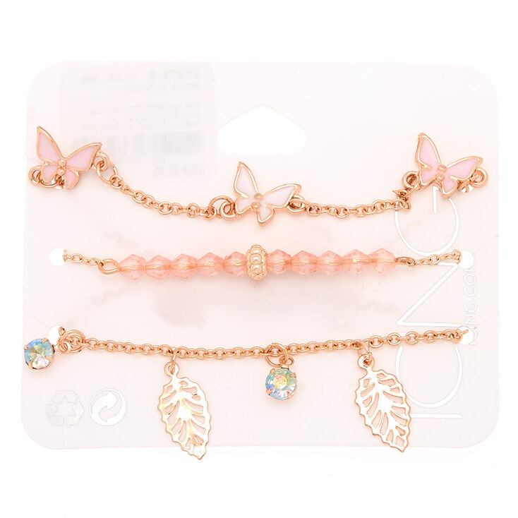 Rose Gold Butterfly & Leaf Chain Bracelets - 3 Pack,
