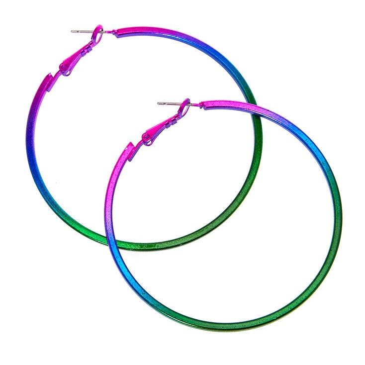 Metallic Rainbow Square Edged Hoop Earrings,