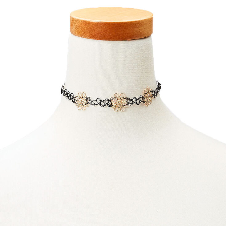Tattoo Choker Gold Flowers,