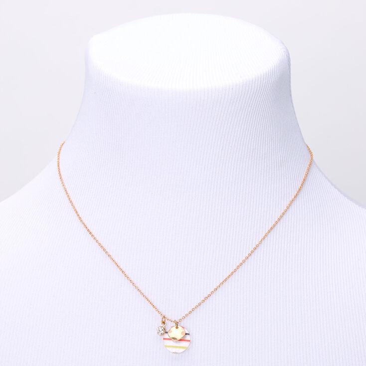 Gold Rainbow Striped Circle Pendant Necklace,