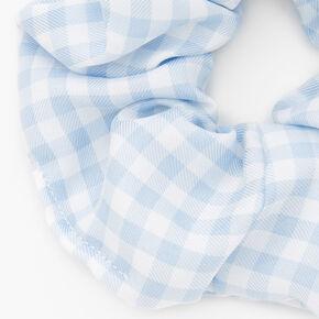 Medium Gingham Hair Scrunchie - Light Blue,