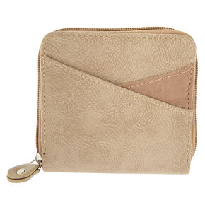 Faux Leather Mini Zip Wallet - Tan,