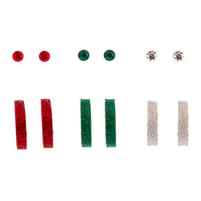 Silver Glitter Mixed Earrings - 6 Pack,