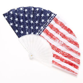 American Flag Paisley Bandana Folding Fan,