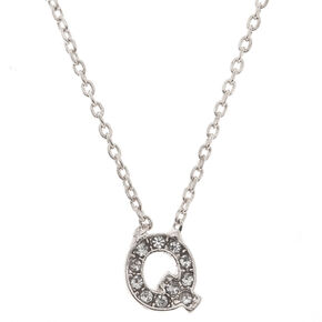 """Silver Studded """"Q"""" Initial Necklace,"""